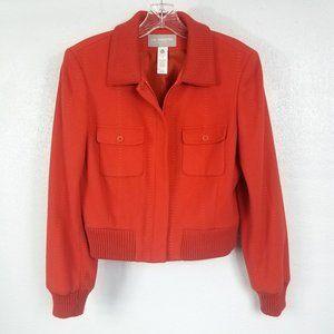 Liz Claiborne Women's Orange Wool Pea Coat Jacket